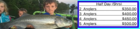 Striper fishing guide service